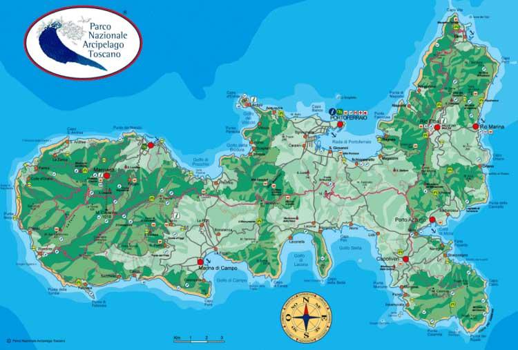 Cartina Elba Isola.Isola D Elba Capoliveri La Cartina Dell Isola D Elba Mappa Dell Elba E Del Parco Nazionale